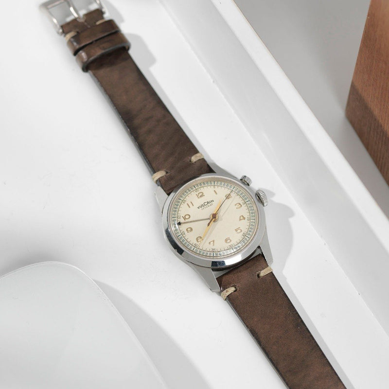 Vulcain Smokeyjack Grey Leather Watch Strap