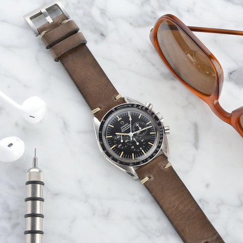 Omega Smokeyjack Grey Square Leather Watch Strap