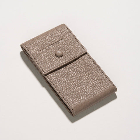 Taupe Grey Luxury Leather Watch Pouch