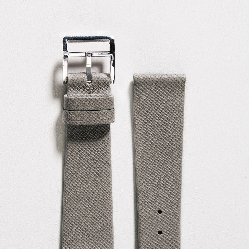 Saffiano Grey Leather Watch Strap