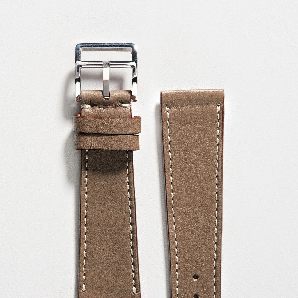Taupe Grey Leather Watch Strap