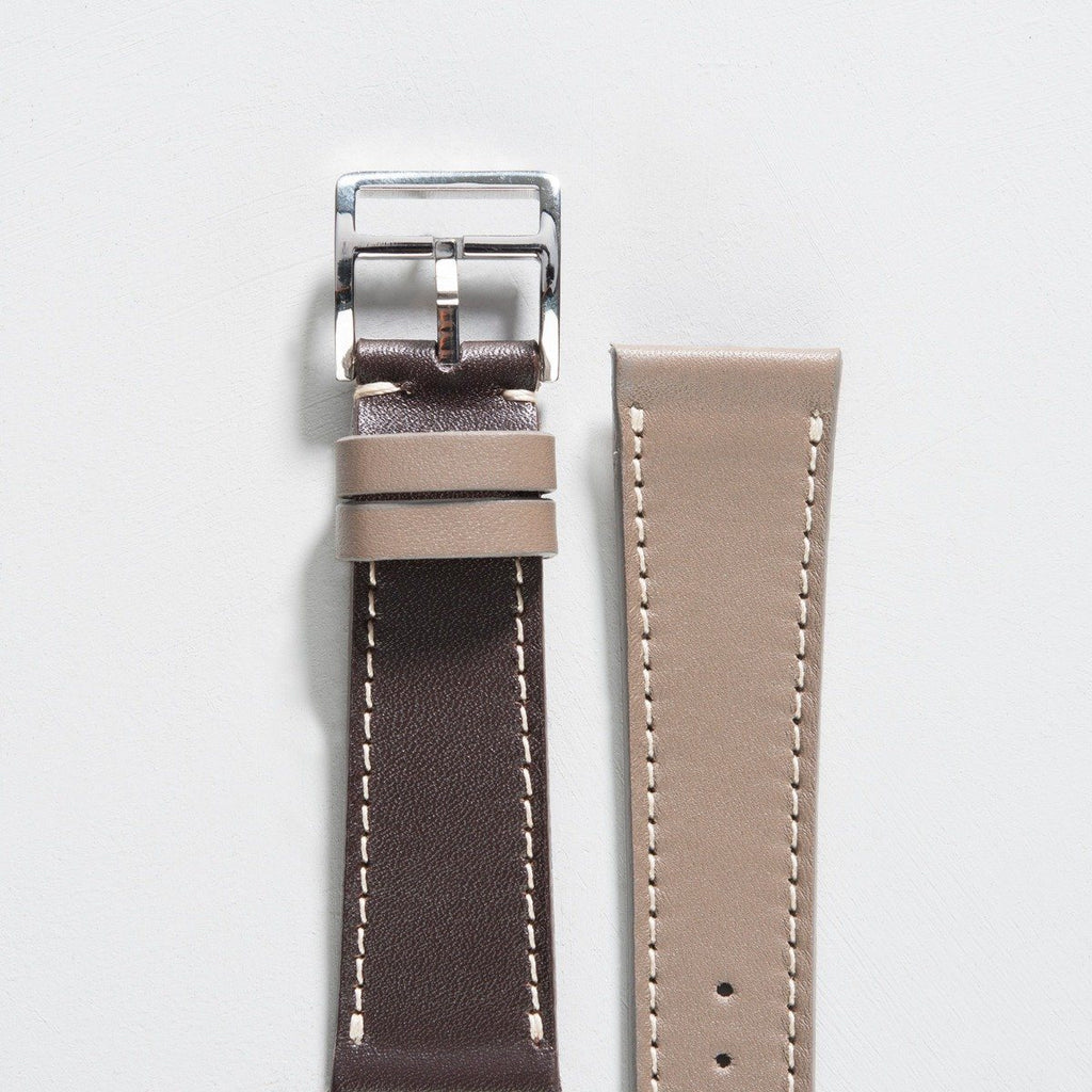 Two Tone Brown/Taupe Leather Watch Strap