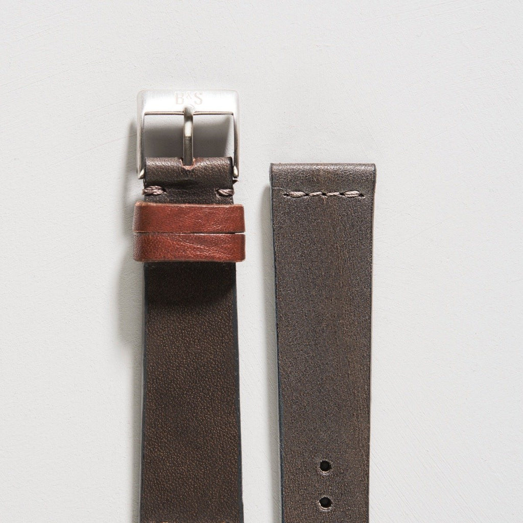 Refined Natural Piombo Grey Leather Watch Strap