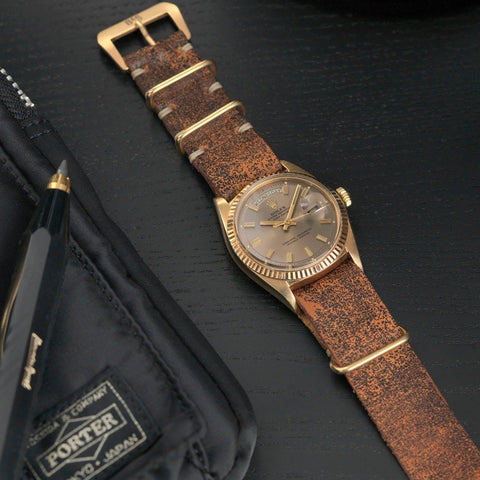 Rolex Woodie Brown Nato Gold Leather Watch Strap