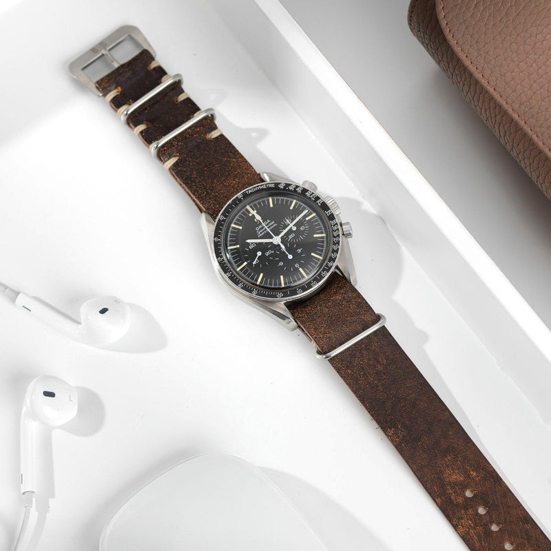 Omega Woodie Brown Nato Leather Watch Strap