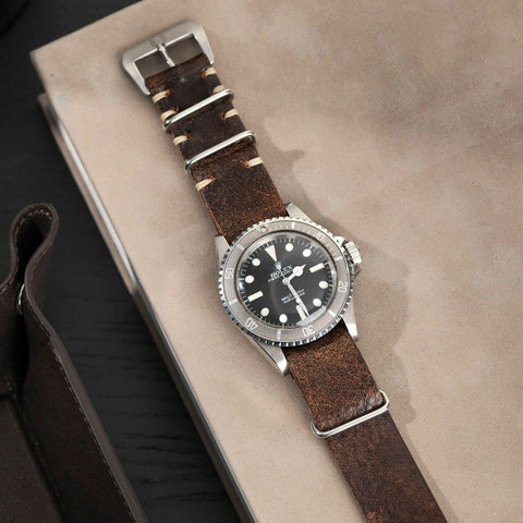 Rolex Woodie Brown Nato Leather Watch Strap