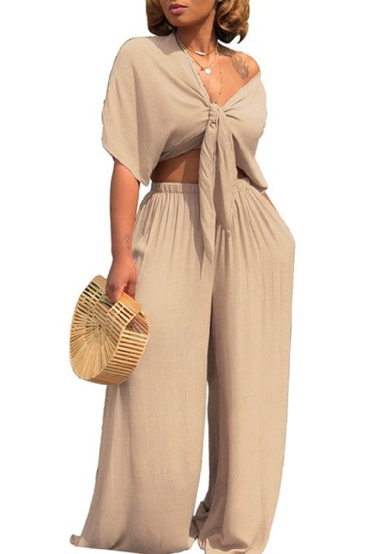 Salena G Tan Two Piece Set