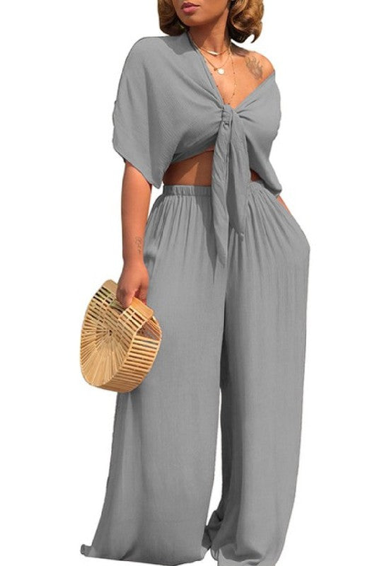 Salena G Grey Two Piece Set
