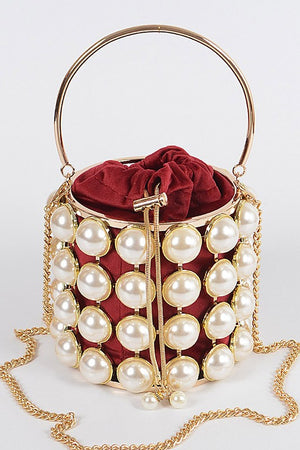 Pearl Girl Burgundy Bag
