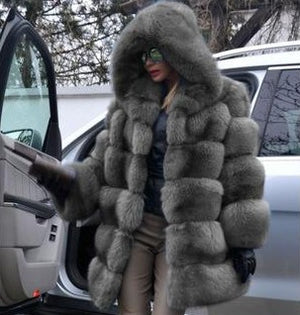 Grey Fox Fur Coat