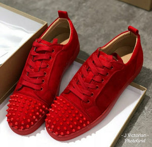 Red Studded Color Sneakers