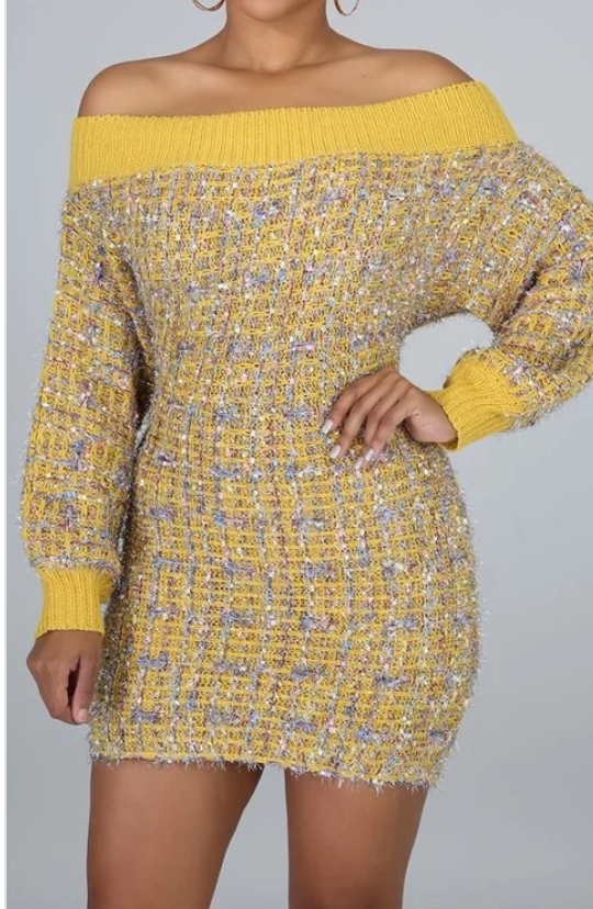Yellow Tweed Dress