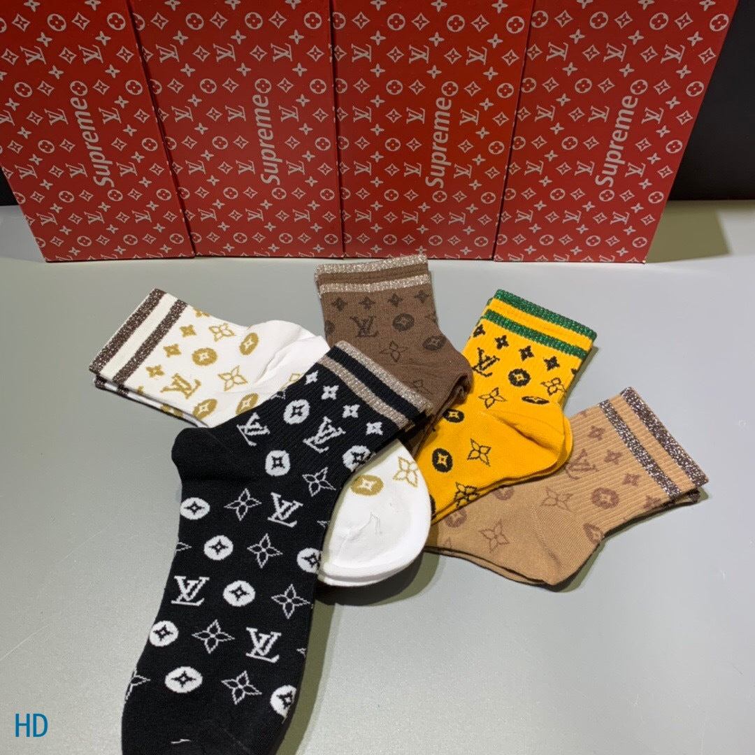 LV Socks Box of 5
