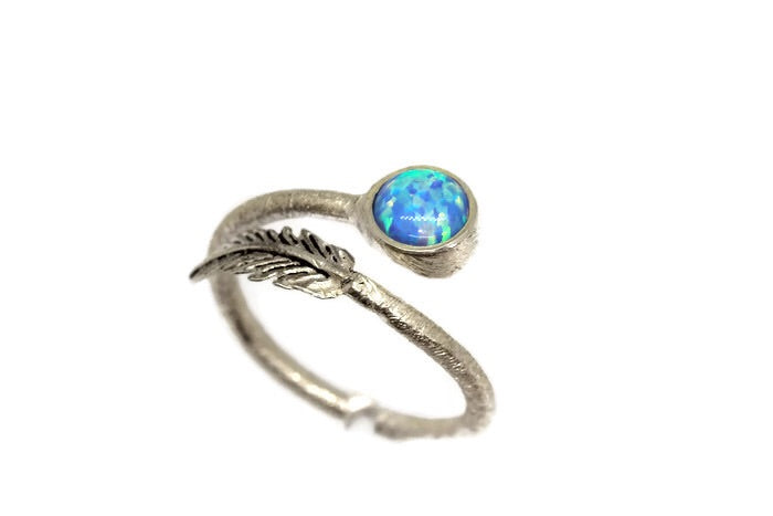 Fire Opal Feather Ring