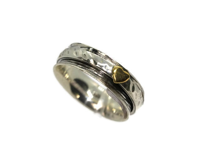 Silver Narrow Heart Spinner Ring