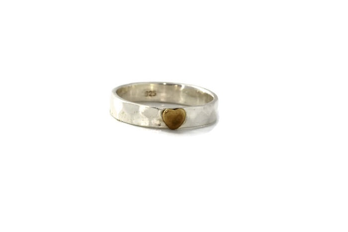Silver Ring with Brass Heart