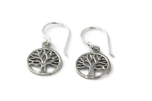 Round Silver Drop Tree of Life Earrings