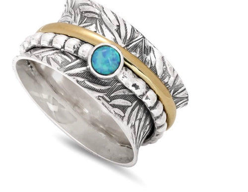 Silver, Brass and Fire Opal Spinner Ring