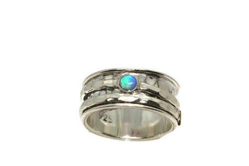 Silver Fire Opal Spinning Ring