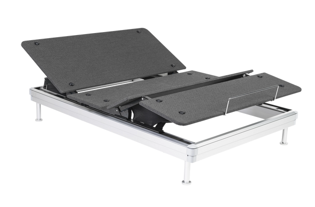 The SilverStandard Adjustable Bed Frame with the head and feet raised.