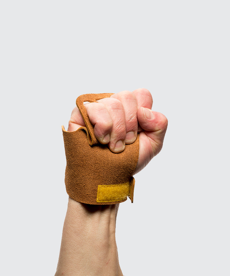 Men's 4-Finger Leather- Tan - Crossfit Gymnastic Hand Grips for pull ups and all crossfit activites