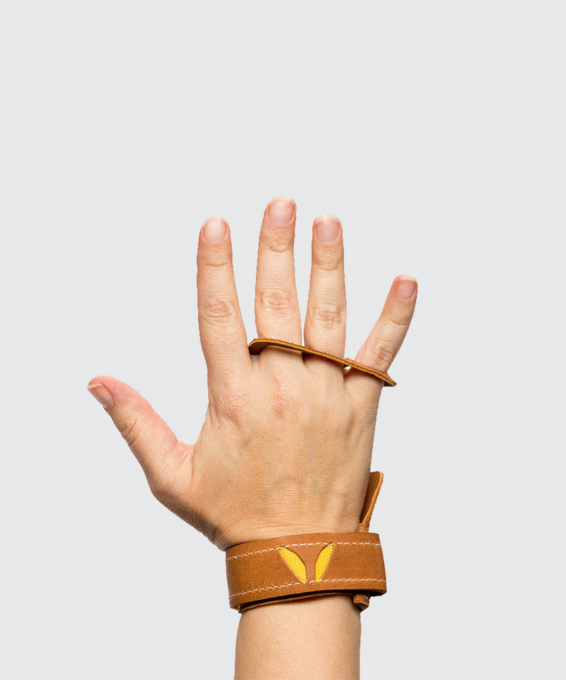 Women's 3-Finger Leather- Tan - Crossfit Gymnastic Hand Grips for pull ups and all crossfit activites