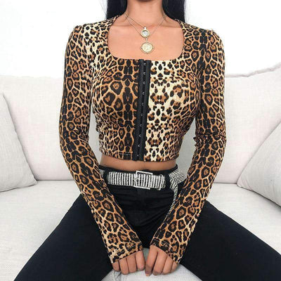 BEKKI Leopard Crop Top