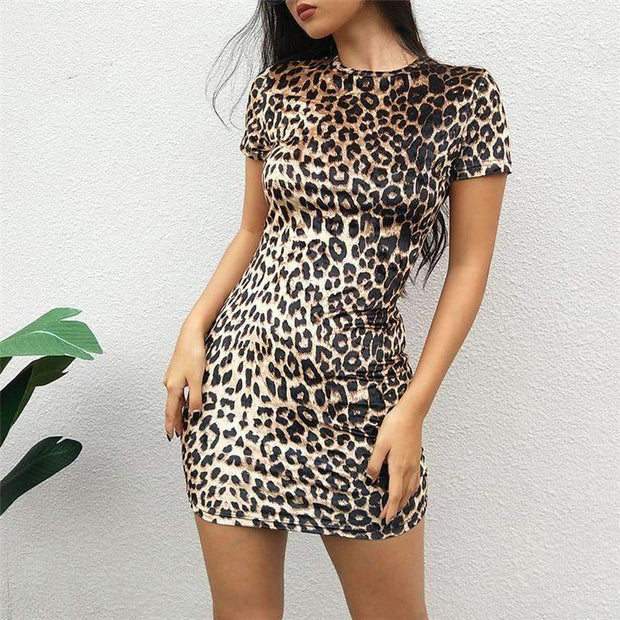 Art Deco Leopard Mini Dress