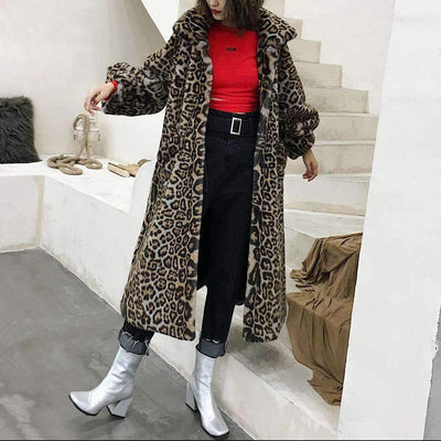 MIKKI Leopard Faux Fur Long Coat