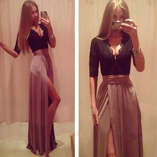 Female Slim Sexy Party Dress Deep V Cardigan Slim Dress Summer