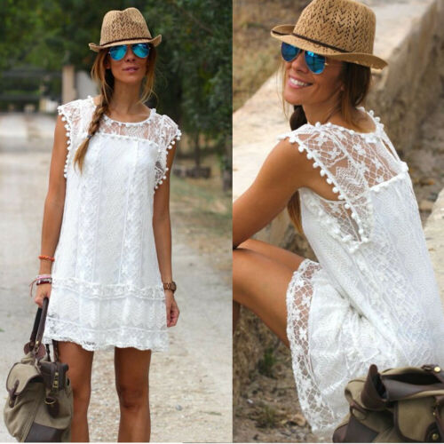 Fashion Women Summer Dress Lady Sleeveless Lace O-Neck Casual White A-Line Mini Dresses