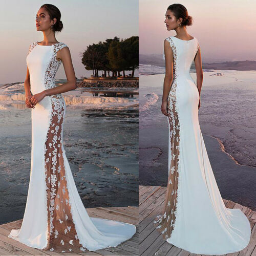 2019 New Hot Summer Fashion Latest Women's Prom Ball Gown Formal Evening Party Lace Mesh Patchwork Maxi Dress