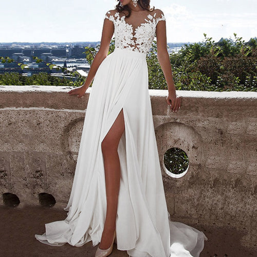 Formal Women's Floral Lace Vintage Short Sleeve Long Dress Slim Wedding High Slit Up White Maxi Dresses Elegant Party Dress