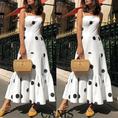 Boho Dot High Waist Sleeveless Long Dress, Maxi Sundress, Party Dress