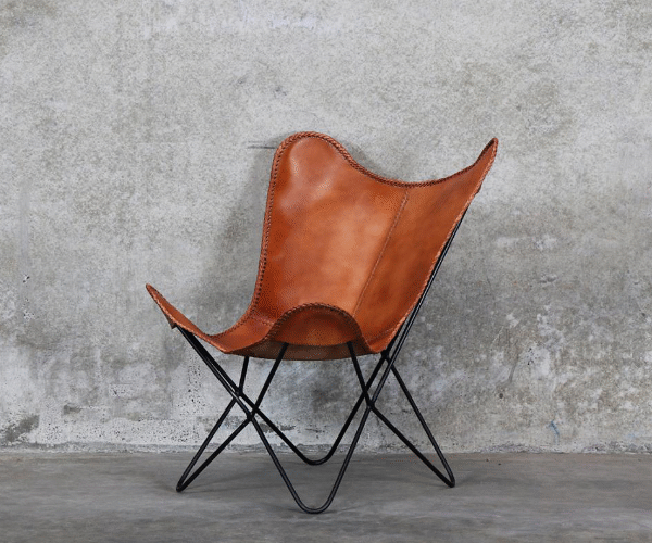 Butterfly Chair Tan leather