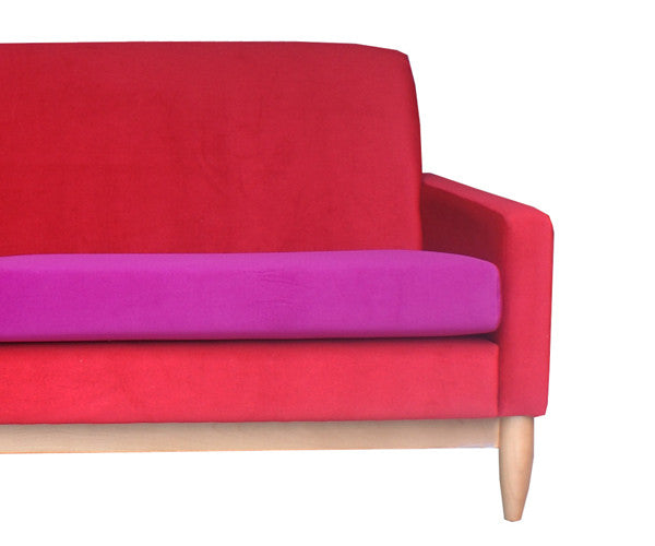 ROXY 2.5 seat sofa - wearing Mystere Flame