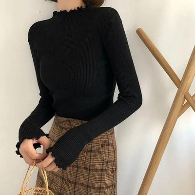 Ribbed ruffle turtleneck