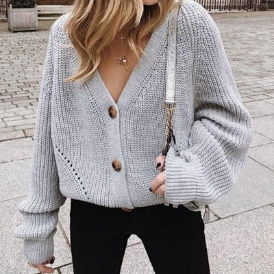 Oversized V Neck Knitted Cardigan