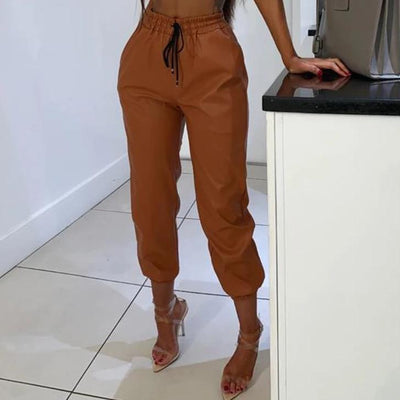 PU leather high waist joggers