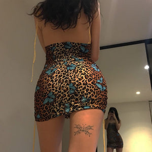 Backless Leopard Butterfly Print Mini Dress