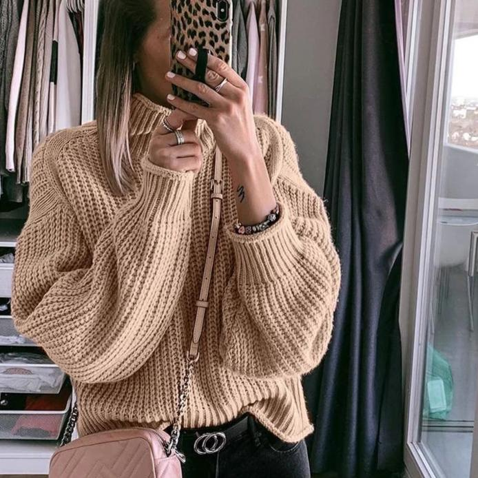 Brown turtleneck sweater