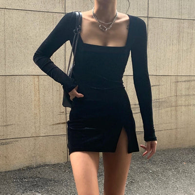 Slit Square Neck Mini Dress