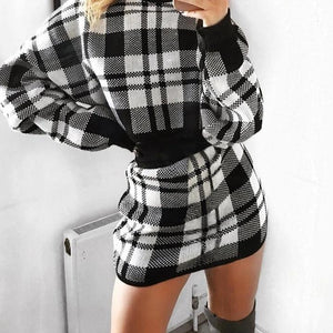 Plaid Knitted Two Piece