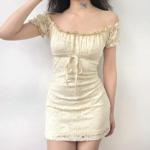 Vintage Yellow Lace Dress