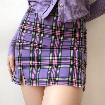 Violet Checked Double Split Skirt