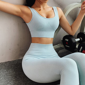 Blue Ribbed Bra & Leggings Set