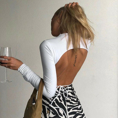 Backless Long Sleeve Crop Top