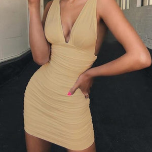 V Neck Mini Bandage Dress