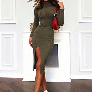 Slit Ribbed Turtleneck Midi Dress