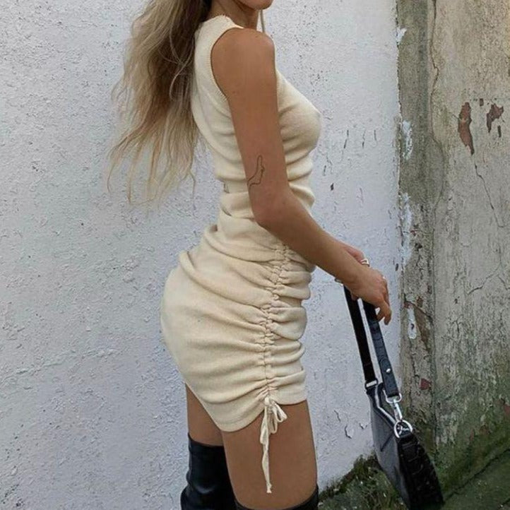 Ribbed Drawstring Mini Dress